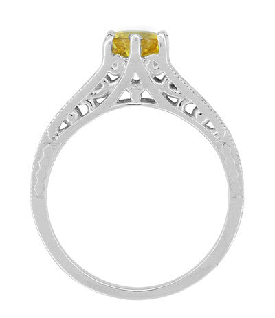 Yellow Sapphire and Diamond Filigree Engagement Ring in 14 Karat White Gold - Item: R158YES - Image: 2