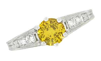 Yellow Sapphire and Diamond Filigree Engagement Ring in 14 Karat White Gold - Item: R158YES - Image: 3