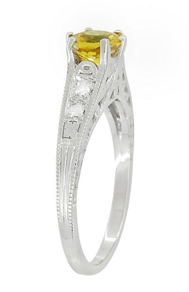 Yellow Sapphire and Diamond Filigree Engagement Ring in 14 Karat White Gold - Item: R158YES - Image: 4