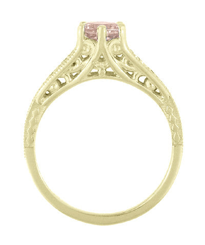 Art Deco 14K Yellow Gold Antique Style Morganite and Diamond Engagement Ring - Item: R158YM - Image: 3