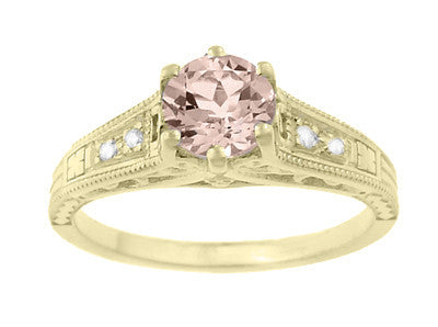 Art Deco 14K Yellow Gold Antique Style Morganite and Diamond Engagement Ring - Item: R158YM - Image: 4