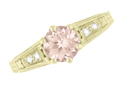 Art Deco 14K Yellow Gold Antique Style Morganite and Diamond Engagement Ring - Item: R158YM - Image: 5