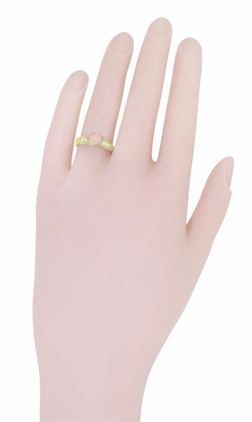 Art Deco 14K Yellow Gold Antique Style Morganite and Diamond Engagement Ring - Item: R158YM - Image: 6