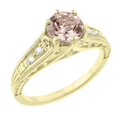 Art Deco 14K Yellow Gold Antique Style Morganite and Diamond Engagement Ring - Item: R158YM - Image: 1