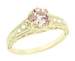 Art Deco 14K Yellow Gold Antique Style Morganite and Diamond Engagement Ring
