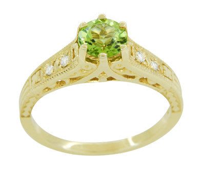 Art Deco Filigree Peridot and Diamond Engagement Ring in 14 Karat Yellow Gold - Item: R158YPER - Image: 1