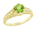 Art Deco Filigree Peridot and Diamond Engagement Ring in 14 Karat Yellow Gold