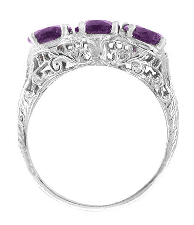 Edwardian Three Stone Oval Amethyst Filigree Ring in 14 Karat White Gold - Item: R159W - Image: 1