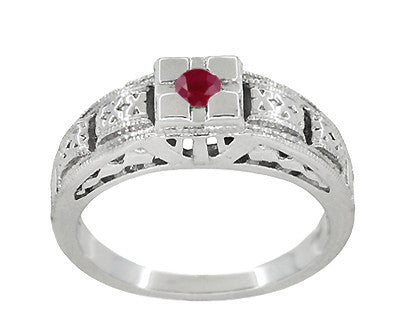 Art Deco Engraved Ruby Engagement Ring in Platinum - Low Profile Vintage Design - Item: R160PR - Image: 2