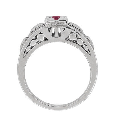 Art Deco Engraved Ruby Engagement Ring in Platinum - Low Profile Vintage Design - Item: R160PR - Image: 3