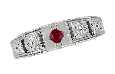 Art Deco Engraved Ruby Engagement Ring in Platinum - Low Profile Vintage Design - Item: R160PR - Image: 4