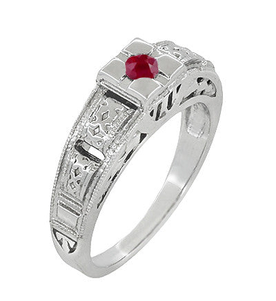Art Deco Engraved Ruby Engagement Ring in Platinum - Low Profile Vintage Design - Item: R160PR - Image: 1