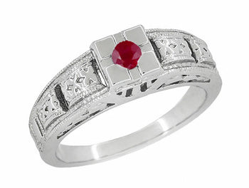 Art Deco Engraved Ruby Engagement Ring in Platinum, Low Profile Vintage Design