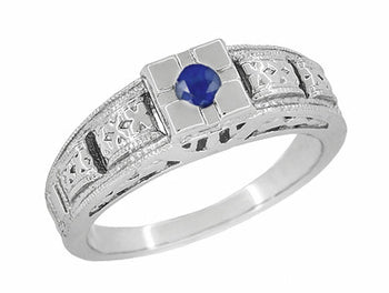 Art Deco Filigree Engraved Blue Sapphire Engagement Ring in Platinum, Antique Style Simple Low Profile Sapphire Band