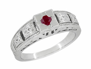 Filigree Engraved Art Deco Ruby Ring in 14 Karat White Gold