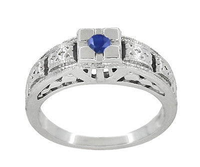 Art Deco Filigree Engraved Blue Sapphire Ring in 14 Karat White Gold - Item: R160WS - Image: 2