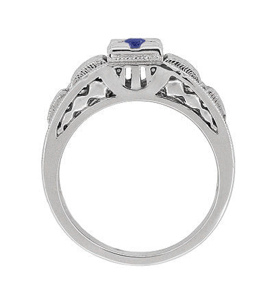 Art Deco Filigree Engraved Blue Sapphire Ring in 14 Karat White Gold - Item: R160WS - Image: 3