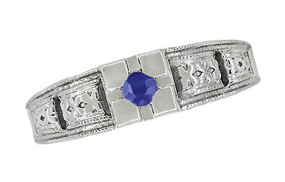 Art Deco Filigree Engraved Blue Sapphire Ring in 14 Karat White Gold - Item: R160WS - Image: 4