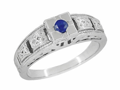 Art Deco Filigree Engraved Blue Sapphire Ring in 14 Karat White Gold