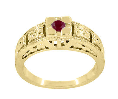 Floral Carved Art Deco Ruby Filigree Ring in 14 Karat Yellow Gold - Item: R160YR - Image: 2
