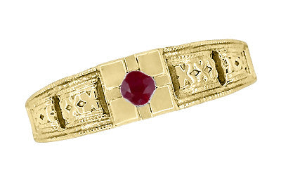 Floral Carved Art Deco Ruby Filigree Ring in 14 Karat Yellow Gold - Item: R160YR - Image: 3
