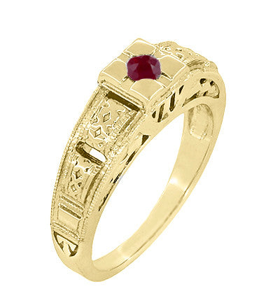 Floral Carved Art Deco Ruby Filigree Ring in 14 Karat Yellow Gold - Item: R160YR - Image: 1