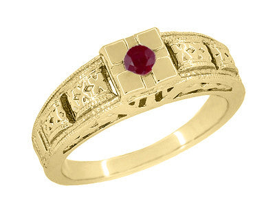 Floral Carved Art Deco Ruby Filigree Ring in 14 Karat Yellow Gold