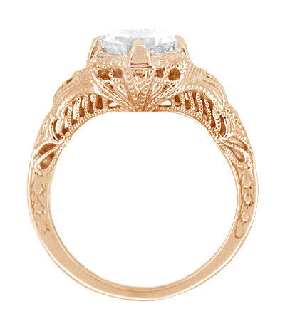 Art Deco White Sapphire Engraved Filigree Engagement Ring in 14 Karat Rose Gold - Item: R161R75WS - Image: 1