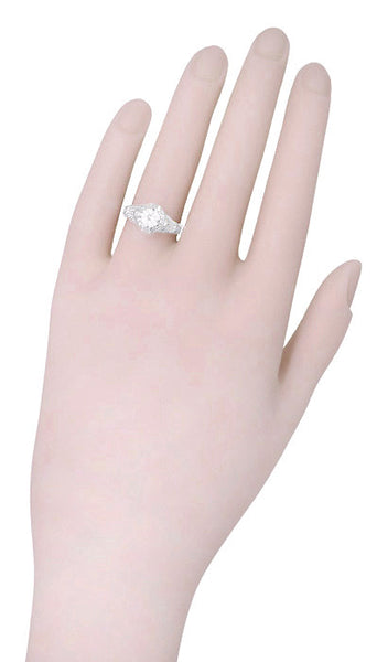 Art Deco Filigree Engraved 3/4 Carat Diamond Engagement Ring in 14 Karat White Gold - Item: R161W75D - Image: 3