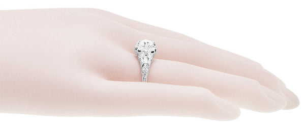 Art Deco Filigree Engraved 3/4 Carat Diamond Engagement Ring in 14 Karat White Gold - Item: R161W75D - Image: 4