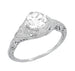 Art Deco Filigree Engraved 3/4 Carat Diamond Engagement Ring in 14 Karat White Gold
