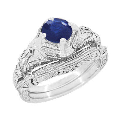 Art Deco Blue Sapphire Engraved Filigree Engagement Ring in 14 Karat White Gold - Item: R161W75S - Image: 2