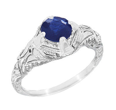 Art Deco Blue Sapphire Engraved Filigree Engagement Ring in 14 Karat White Gold
