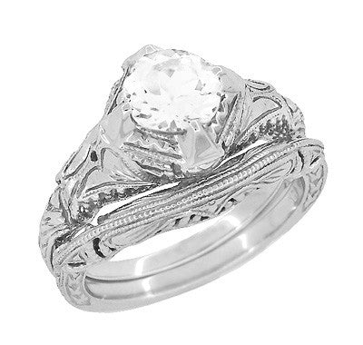 Art Deco White Sapphire Engraved Filigree Engagement Ring in 14 Karat White Gold - Item: R161W75WS - Image: 2