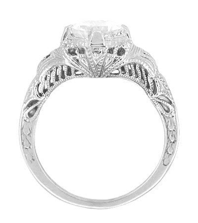 Art Deco White Sapphire Engraved Filigree Engagement Ring in 14 Karat White Gold - Item: R161W75WS - Image: 1