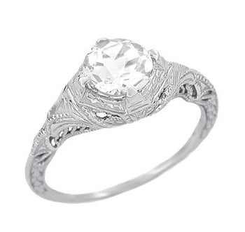 Art Deco White Sapphire Engraved Filigree Engagement Ring in 14 Karat White Gold