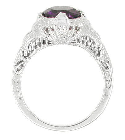 Art Deco Engraved Filigree 1 Carat Amethyst Engagement Ring in 14 Karat White Gold - Item: R161WAM - Image: 1
