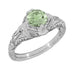 Art Deco Vintage Engraved Filigree 1 Carat Green Sapphire Engagement Ring in 14 Karat White Gold