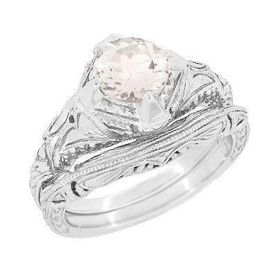 Art Deco Engraved Filigree Morganite Engagement Ring in 14 Karat White Gold - Item: R161WM - Image: 2