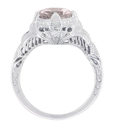 Art Deco Engraved Filigree Morganite Engagement Ring in 14 Karat White Gold - Item: R161WM - Image: 1