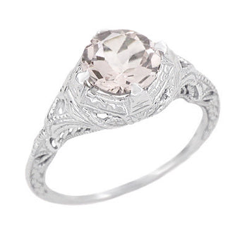 Art Deco Engraved Filigree Morganite Engagement Ring in 14 Karat White Gold