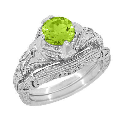 Art Deco Engraved Filigree 1.5 Carat Peridot Engagement Ring in 14 Karat White Gold - Item: R161WPER - Image: 2