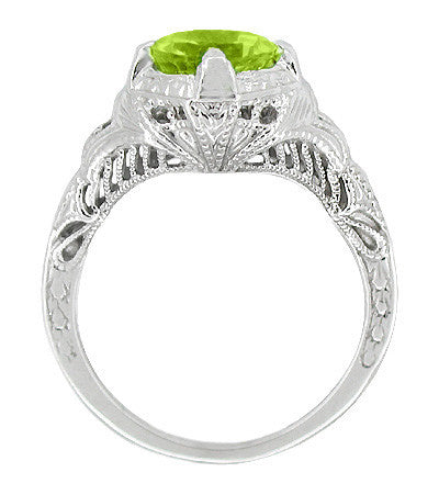 Art Deco Engraved Filigree 1.5 Carat Peridot Engagement Ring in 14 Karat White Gold - Item: R161WPER - Image: 1