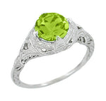 Art Deco Engraved Filigree 1.5 Carat Peridot Engagement Ring in 14 Karat White Gold