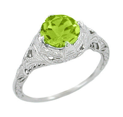 art deco engraved filigree 15 carat peridot engagement ring in 14 karat white gold - Peridot Wedding Rings