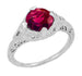 Art Deco Rubellite Tourmaline Engraved Filigree Engagement Ring in 14 Karat White Gold