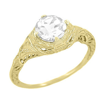 Art Deco Filigree Engraved 1.24 Carat Diamond Solitaire Engagement Ring in 14 Karat Yellow Gold
