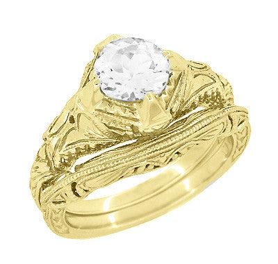 Art Deco White Sapphire Engraved Filigree Engagement Ring in 14 Karat Yellow Gold - Item: R161Y75WS - Image: 2