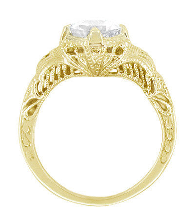 Art Deco White Sapphire Engraved Filigree Engagement Ring in 14 Karat Yellow Gold - Item: R161Y75WS - Image: 1