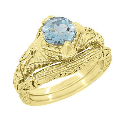 Art Deco 1.25 Carat Aquamarine Engraved Filigree Engagement Ring in 14 Karat Yellow Gold - Item: R161YA - Image: 2